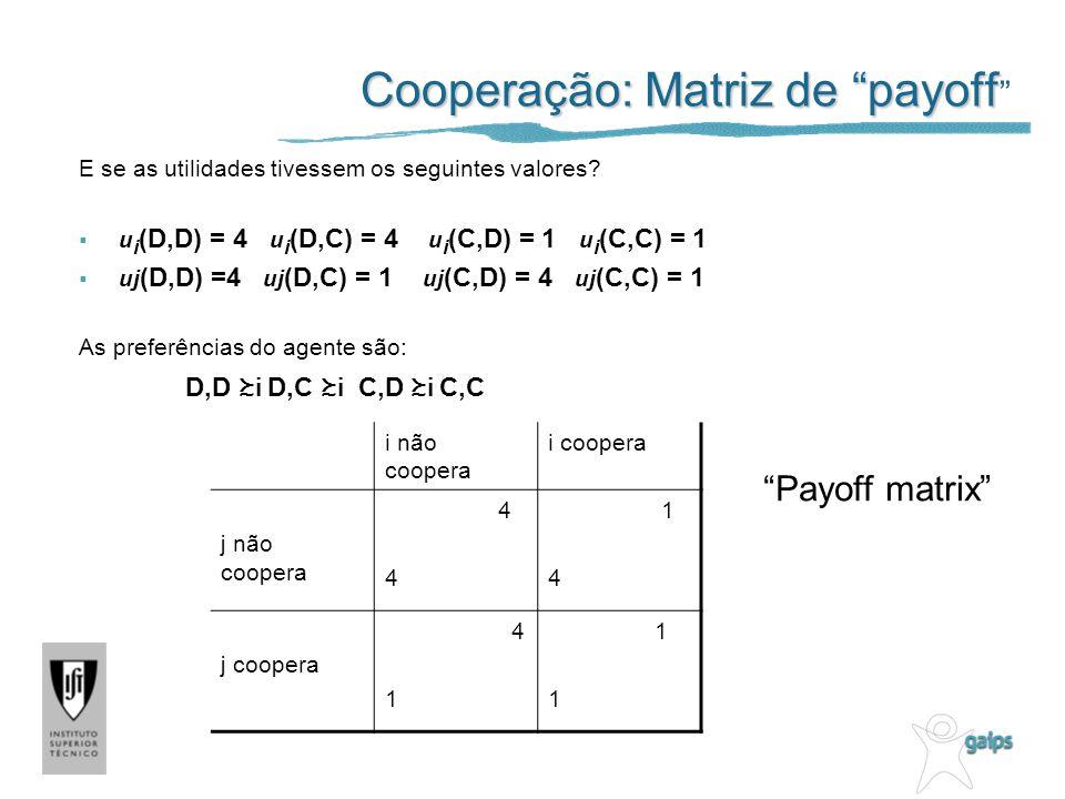Cooperação: Matriz de payoff Cooperação: Matriz de payoff E se as utilidades tivessem os seguintes valores? u i (D,D) = 4 u i (D,C) = 4 u i (C,D) = 1