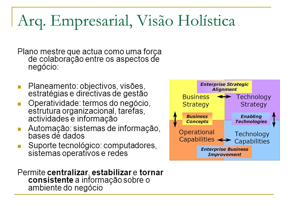 Arq. Empresarial, Visão Holística Plano mestre que actua como uma força de colaboração entre os aspectos de negócio: Planeamento: objectivos, visões,