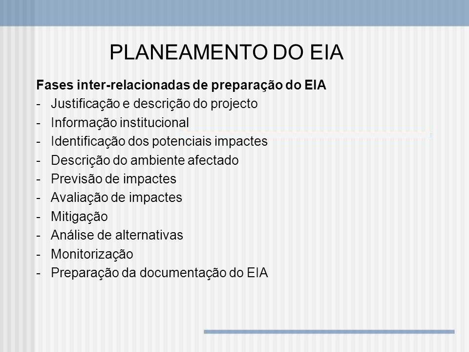 PLANEAMENTO DO EIA Fases inter-relacionadas de preparação do EIA -Justificação e descrição do projecto -Informação institucional -Identificação dos po