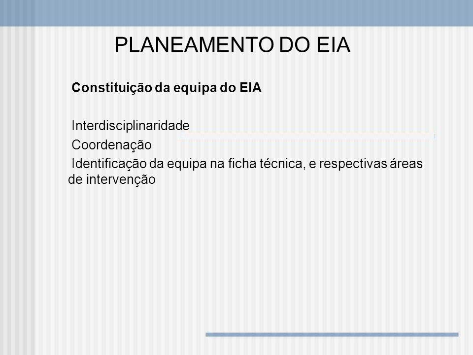 PLANEAMENTO DO EIA Constituição da equipa do EIA Interdisciplinaridade Coordenação Identificação da equipa na ficha técnica, e respectivas áreas de in