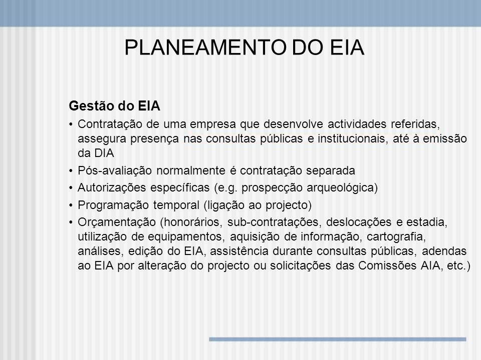 PLANEAMENTO DO EIA Gestão do EIA Contratação de uma empresa que desenvolve actividades referidas, assegura presença nas consultas públicas e instituci