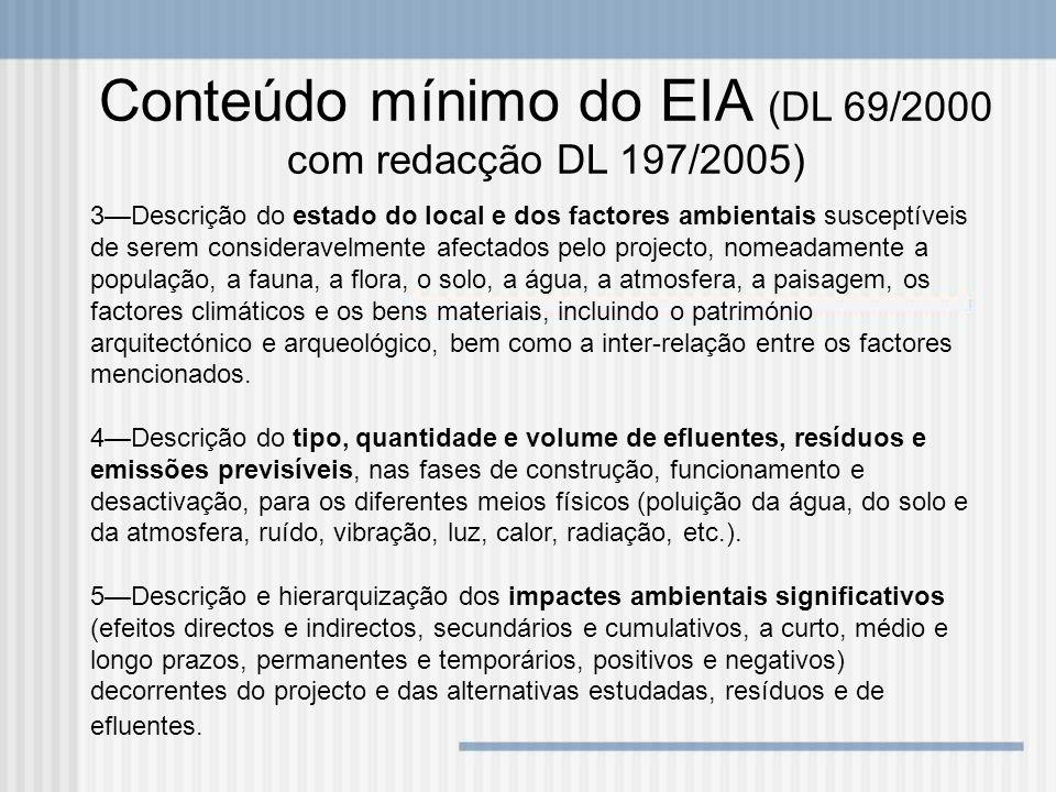 Conteúdo mínimo do EIA (DL 69/2000 com redacção DL 197/2005) 3Descrição do estado do local e dos factores ambientais susceptíveis de serem considerave