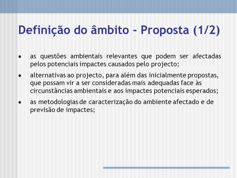 Definição do âmbito - Proposta (1/2) as questões ambientais relevantes que podem ser afectadas pelos potenciais impactes causados pelo projecto; alter