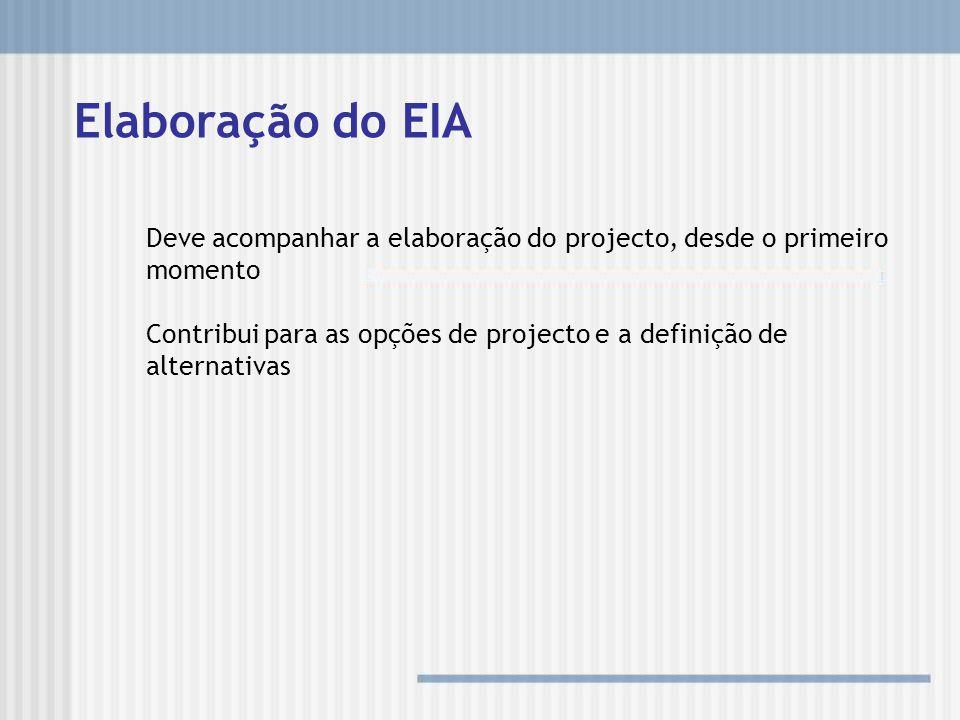 Elaboração do EIA Deve acompanhar a elaboração do projecto, desde o primeiro momento Contribui para as opções de projecto e a definição de alternativa