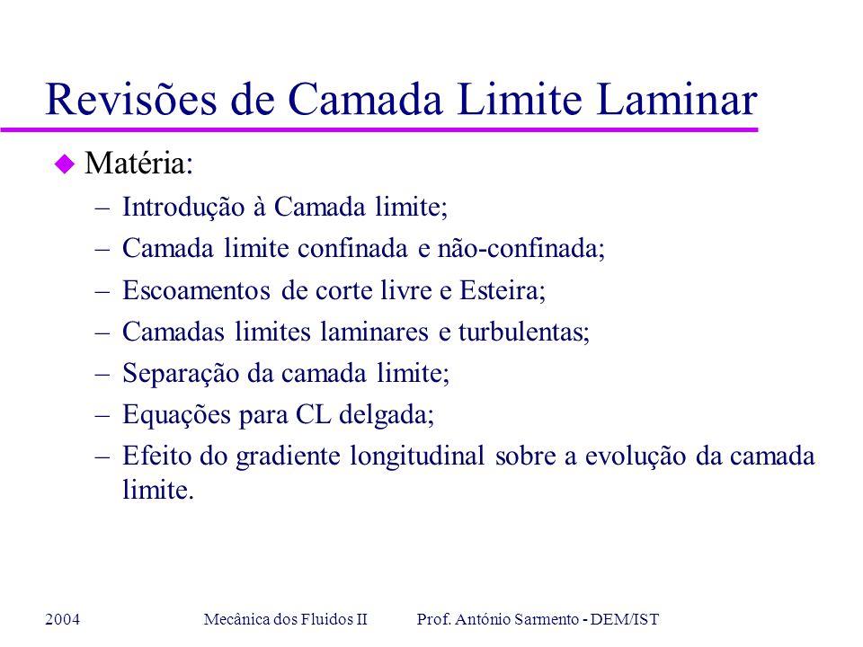 2004Mecânica dos Fluidos II Prof. António Sarmento - DEM/IST Revisões de Camada Limite Laminar u Matéria: –Introdução à Camada limite; –Camada limite