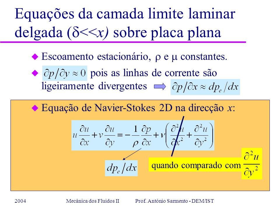 2004Mecânica dos Fluidos II Prof. António Sarmento - DEM/IST Equações da camada limite laminar delgada ( <<x) sobre placa plana Escoamento estacionári