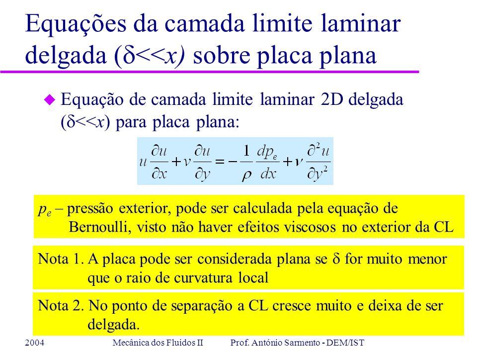 2004Mecânica dos Fluidos II Prof. António Sarmento - DEM/IST Equações da camada limite laminar delgada ( <<x) sobre placa plana Equação de camada limi