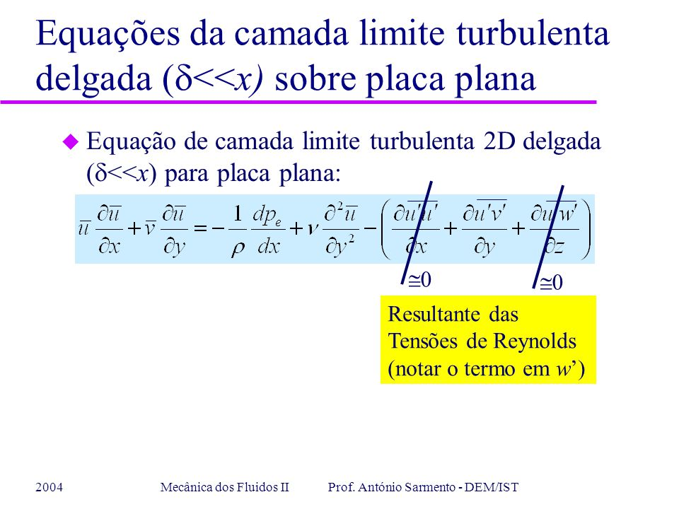 2004Mecânica dos Fluidos II Prof. António Sarmento - DEM/IST Equações da camada limite turbulenta delgada ( <<x) sobre placa plana Equação de camada l