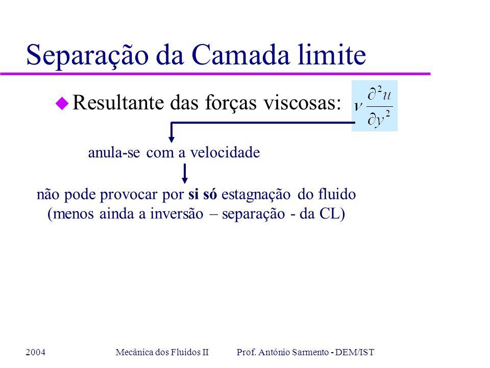 2004Mecânica dos Fluidos II Prof. António Sarmento - DEM/IST u Resultante das forças viscosas: anula-se com a velocidade não pode provocar por si só e