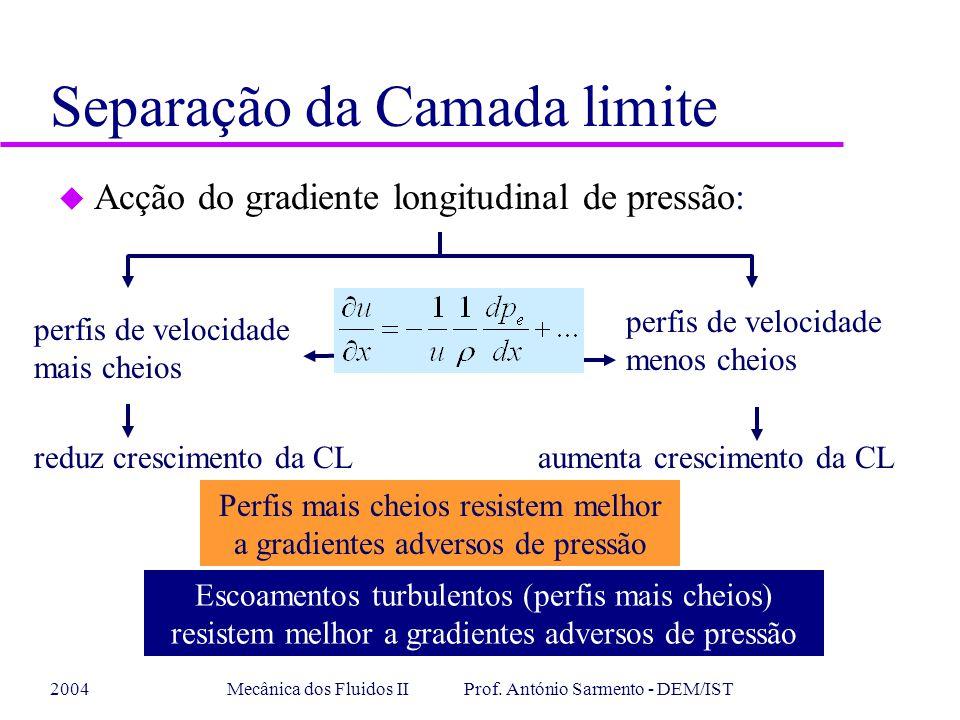2004Mecânica dos Fluidos II Prof. António Sarmento - DEM/IST u Acção do gradiente longitudinal de pressão: perfis de velocidade mais cheios perfis de