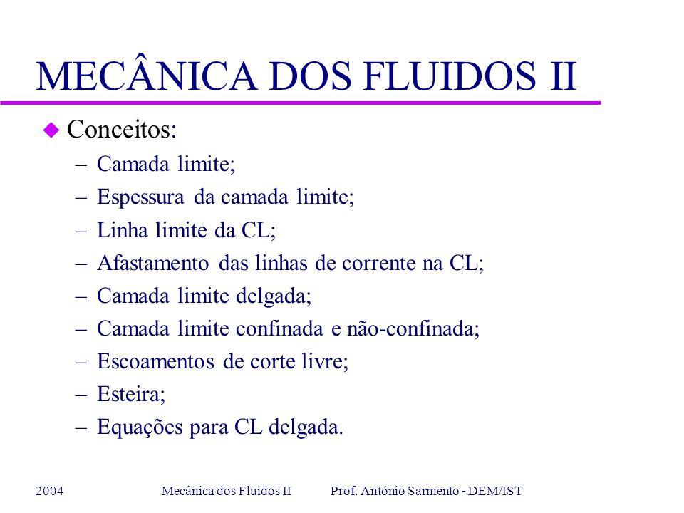 2004Mecânica dos Fluidos II Prof. António Sarmento - DEM/IST MECÂNICA DOS FLUIDOS II u Conceitos: –Camada limite; –Espessura da camada limite; –Linha