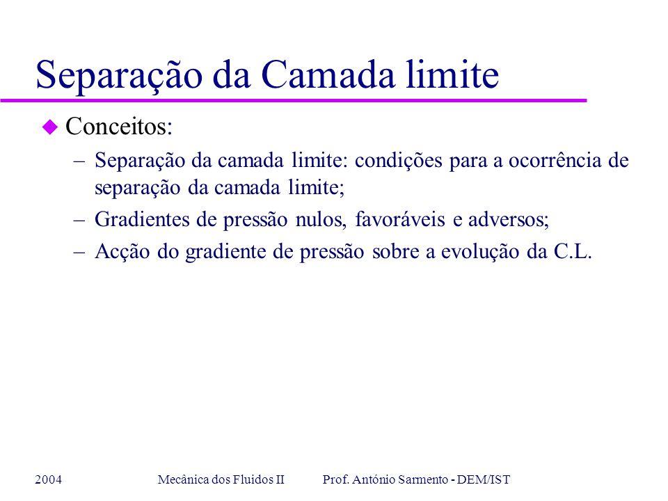 2004Mecânica dos Fluidos II Prof. António Sarmento - DEM/IST u Conceitos: –Separação da camada limite: condições para a ocorrência de separação da cam