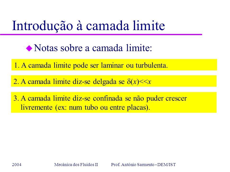 2004Mecânica dos Fluidos II Prof. António Sarmento - DEM/IST Introdução à camada limite u Notas sobre a camada limite: 1. A camada limite pode ser lam