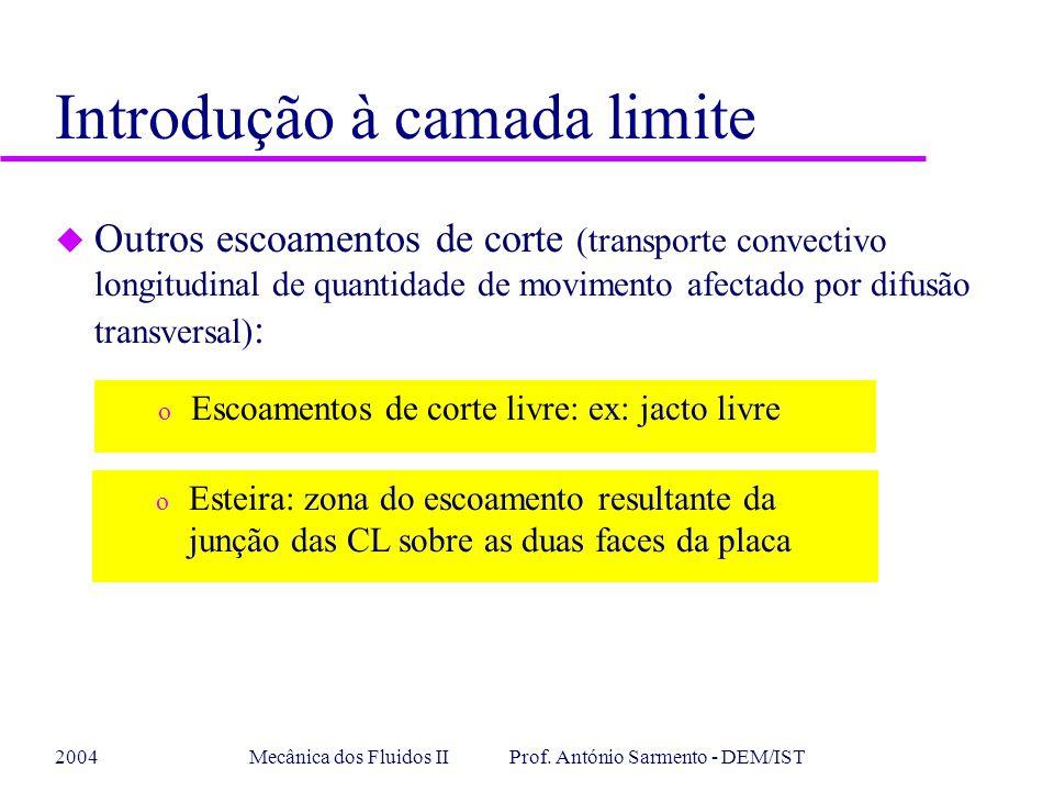 2004Mecânica dos Fluidos II Prof. António Sarmento - DEM/IST Introdução à camada limite u Outros escoamentos de corte (transporte convectivo longitudi