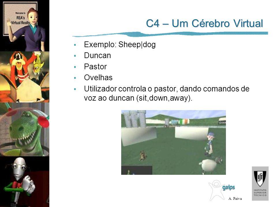 A. Paiva C4 – Um Cérebro Virtual Exemplo: Sheep|dog Duncan Pastor Ovelhas Utilizador controla o pastor, dando comandos de voz ao duncan (sit,down,away