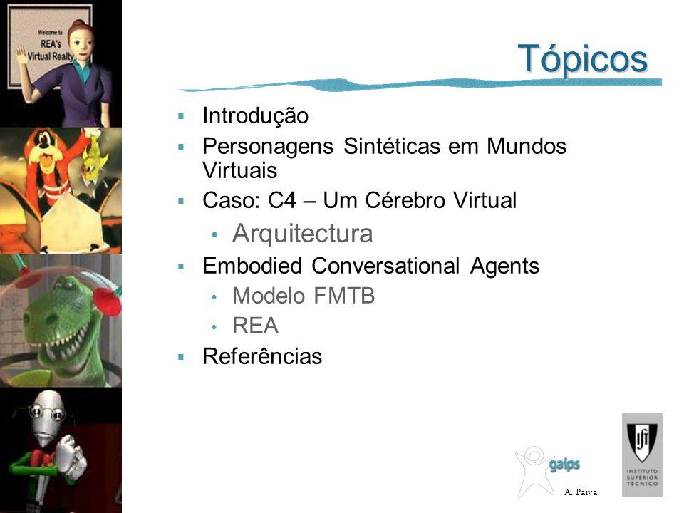 A. Paiva Tópicos Introdução Personagens Sintéticas em Mundos Virtuais Caso: C4 – Um Cérebro Virtual Arquitectura Embodied Conversational Agents Modelo