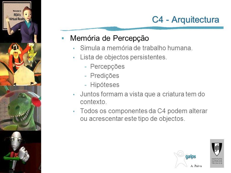 A. Paiva C4 - Arquitectura Memória de Percepção Simula a memória de trabalho humana. Lista de objectos persistentes. -Percepções -Predições -Hipóteses
