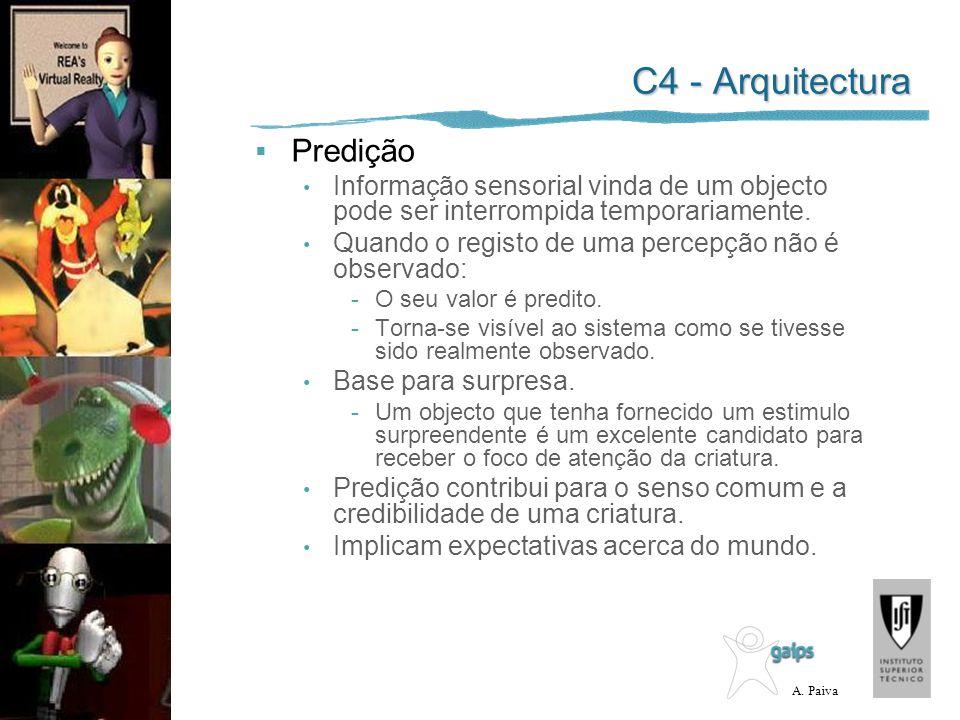 A. Paiva C4 - Arquitectura Predição Informação sensorial vinda de um objecto pode ser interrompida temporariamente. Quando o registo de uma percepção