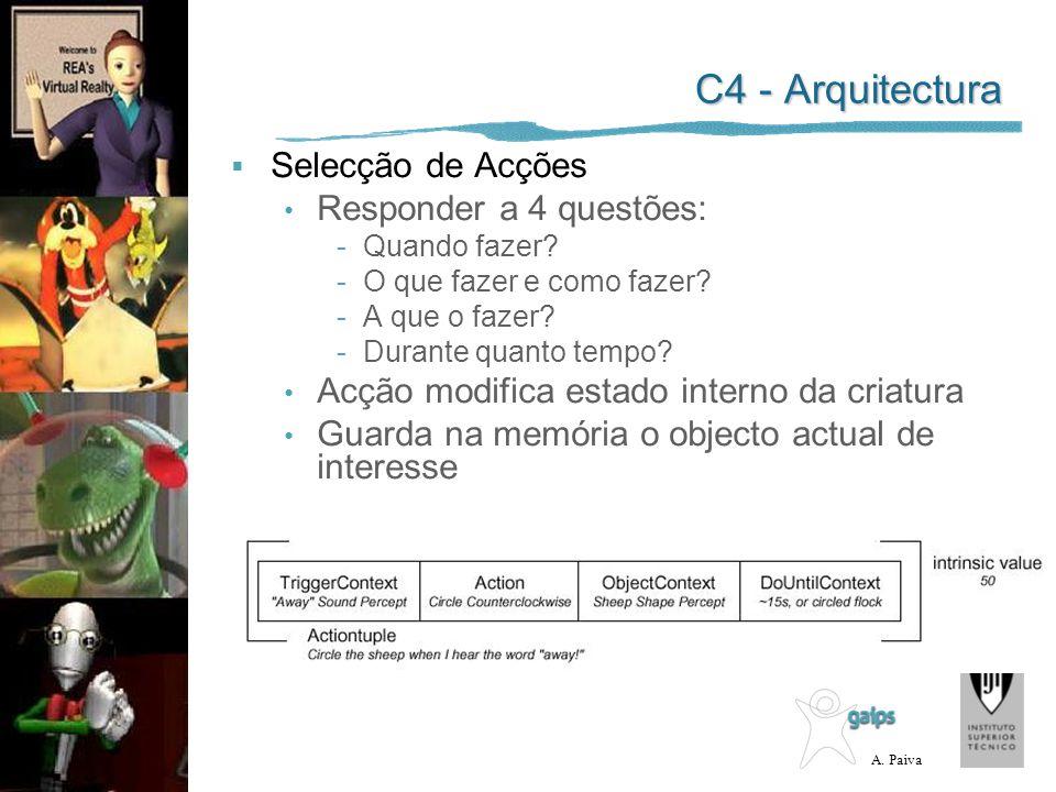 A. Paiva C4 - Arquitectura Selecção de Acções Responder a 4 questões: -Quando fazer? -O que fazer e como fazer? -A que o fazer? -Durante quanto tempo?