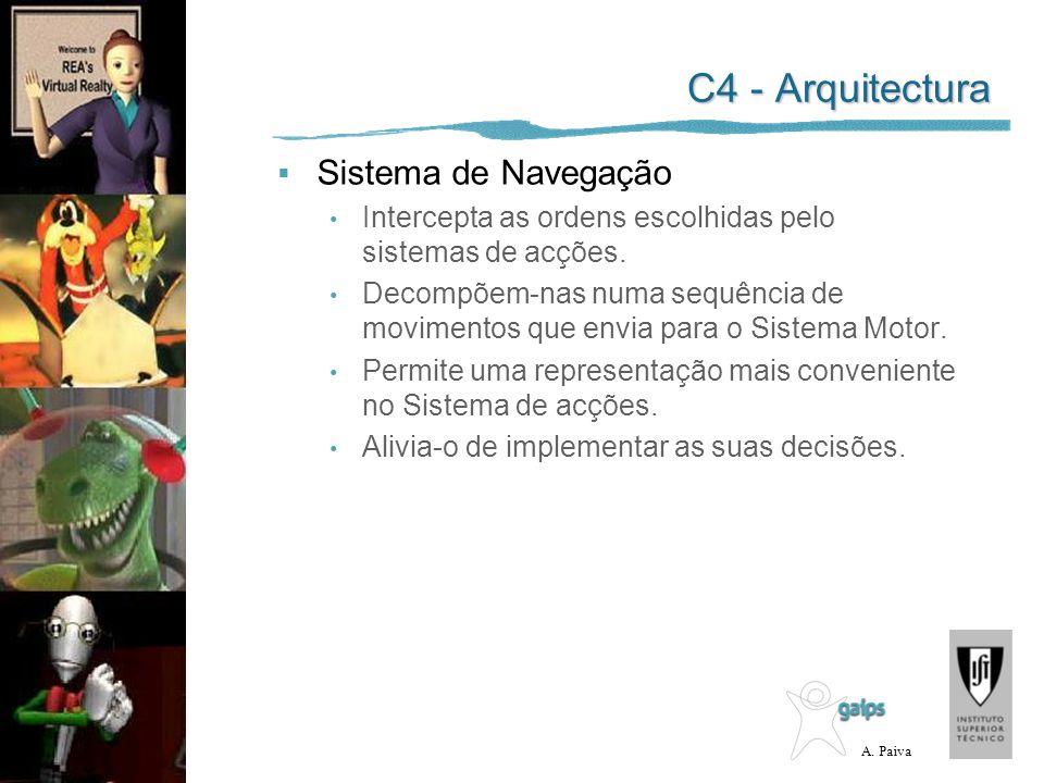 A. Paiva C4 - Arquitectura Sistema de Navegação Intercepta as ordens escolhidas pelo sistemas de acções. Decompõem-nas numa sequência de movimentos qu