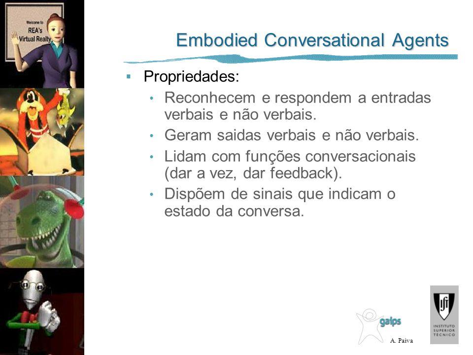 A. Paiva Embodied Conversational Agents Propriedades: Reconhecem e respondem a entradas verbais e não verbais. Geram saidas verbais e não verbais. Lid