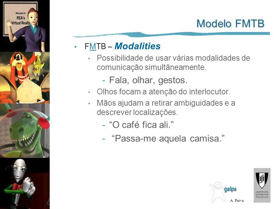 A. Paiva Modelo FMTB FMTB – Modalities Possibilidade de usar várias modalidades de comunicação simultâneamente. -Fala, olhar, gestos. Olhos focam a at