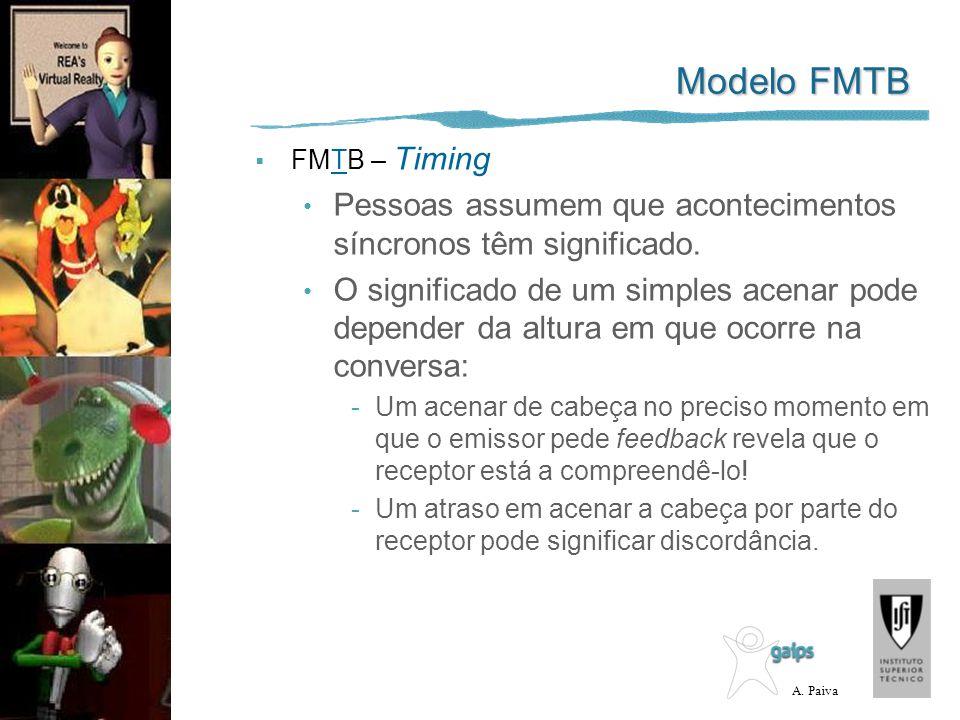 A. Paiva Modelo FMTB FMTB – Timing Pessoas assumem que acontecimentos síncronos têm significado. O significado de um simples acenar pode depender da a