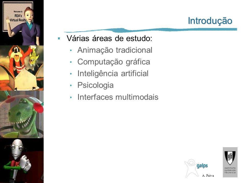 A. Paiva Introdução Várias áreas de estudo: Animação tradicional Computação gráfica Inteligência artificial Psicologia Interfaces multimodais