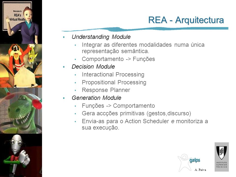 A. Paiva Understanding Module Integrar as diferentes modalidades numa única representação semântica. Comportamento -> Funções Decision Module Interact