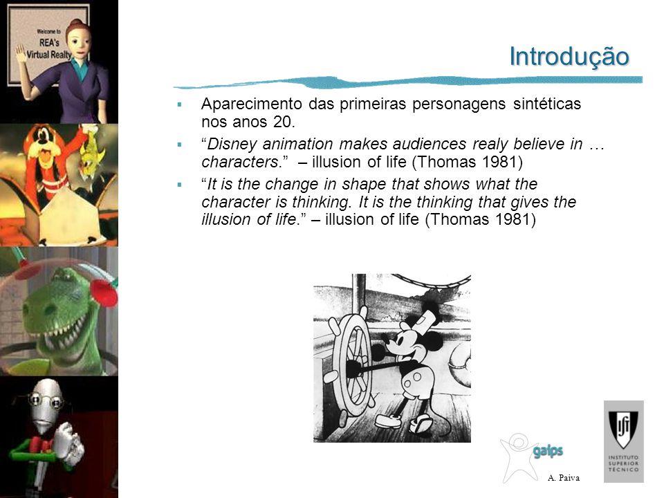 A. Paiva Introdução Aparecimento das primeiras personagens sintéticas nos anos 20. Disney animation makes audiences realy believe in … characters. – i