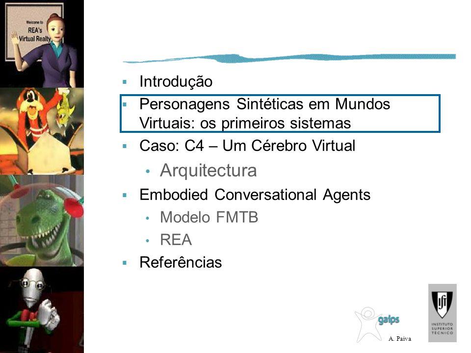 A. Paiva Introdução Personagens Sintéticas em Mundos Virtuais: os primeiros sistemas Caso: C4 – Um Cérebro Virtual Arquitectura Embodied Conversationa