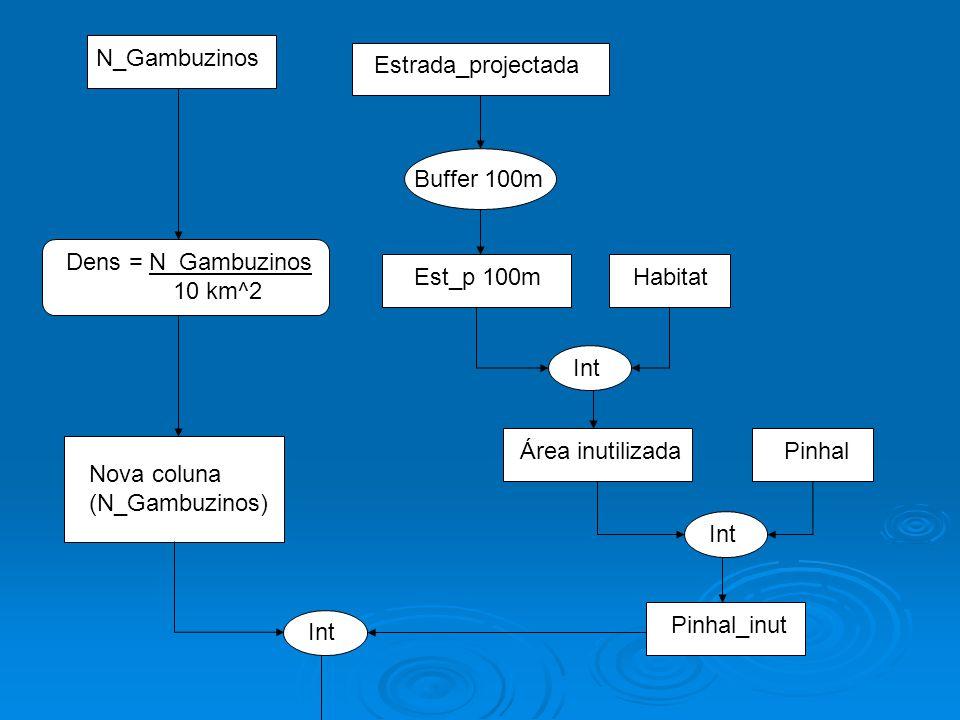 N_Gambuzinos Dens = N_Gambuzinos 10 km^2 Estrada_projectada Buffer 100m Est_p 100m Int Habitat Área inutilizada Int Pinhal Pinhal_inut Nova coluna (N_