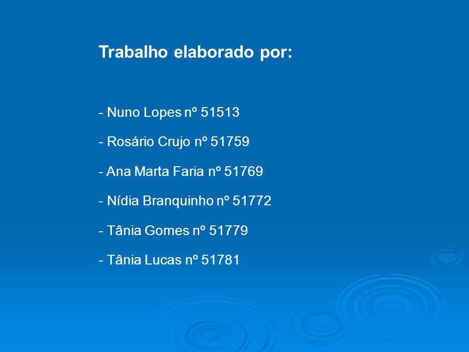 Trabalho elaborado por: - Nuno Lopes nº 51513 - Rosário Crujo nº 51759 - Ana Marta Faria nº 51769 - Nídia Branquinho nº 51772 - Tânia Gomes nº 51779 -