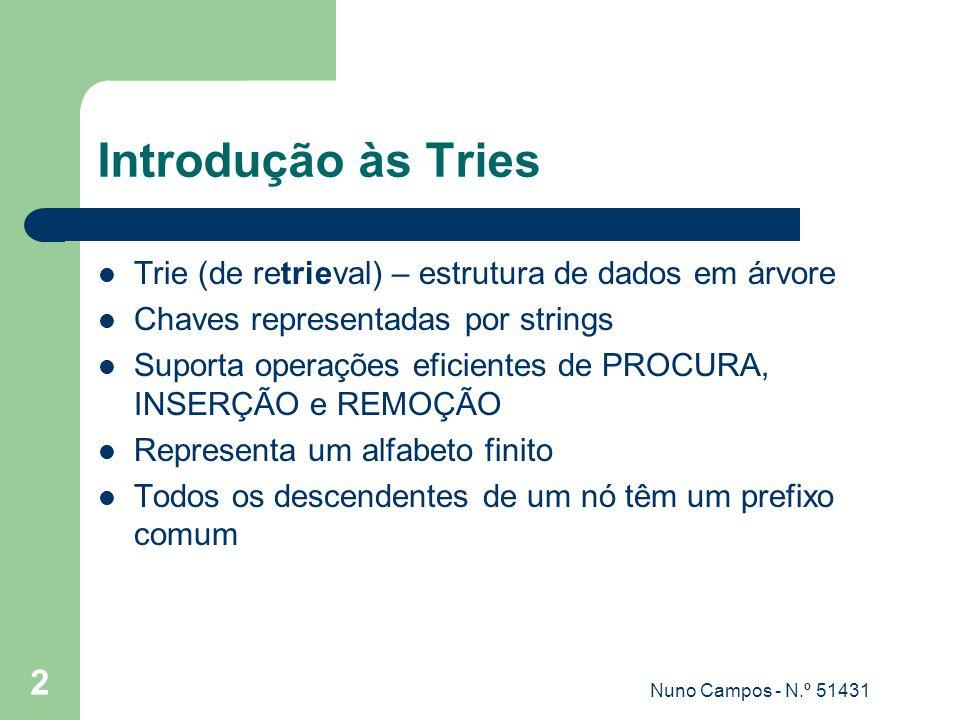Nuno Campos - N.º 51431 2 Introdução às Tries Trie (de retrieval) – estrutura de dados em árvore Chaves representadas por strings Suporta operações eficientes de PROCURA, INSERÇÃO e REMOÇÃO Representa um alfabeto finito Todos os descendentes de um nó têm um prefixo comum