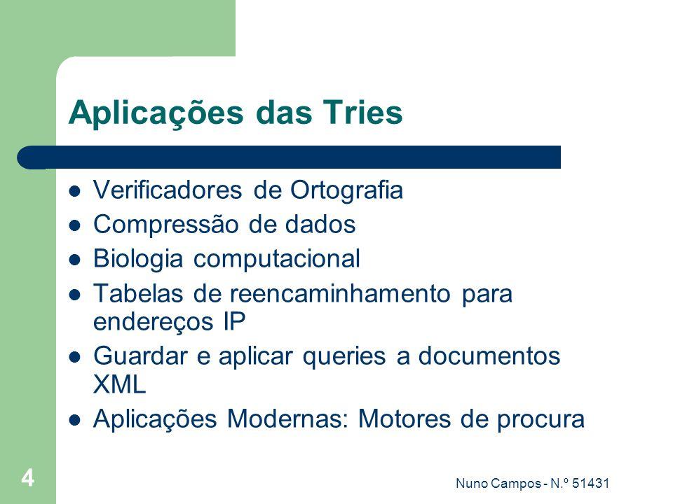 Nuno Campos - N.º 51431 4 Aplicações das Tries Verificadores de Ortografia Compressão de dados Biologia computacional Tabelas de reencaminhamento para endereços IP Guardar e aplicar queries a documentos XML Aplicações Modernas: Motores de procura