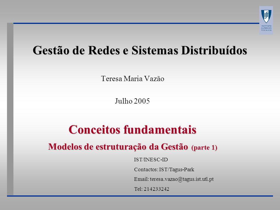Gestão de Redes e Sistemas Distribuídos Teresa Maria Vazão Julho 2005 Conceitos fundamentais Modelos de estruturação da Gestão (parte 1) IST/INESC-ID