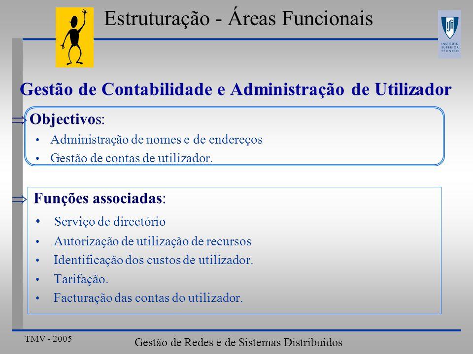 TMV - 2005 Gestão de Redes e de Sistemas Distribuídos Gestão de Contabilidade e Administração de Utilizador Objectivos: Administração de nomes e de en