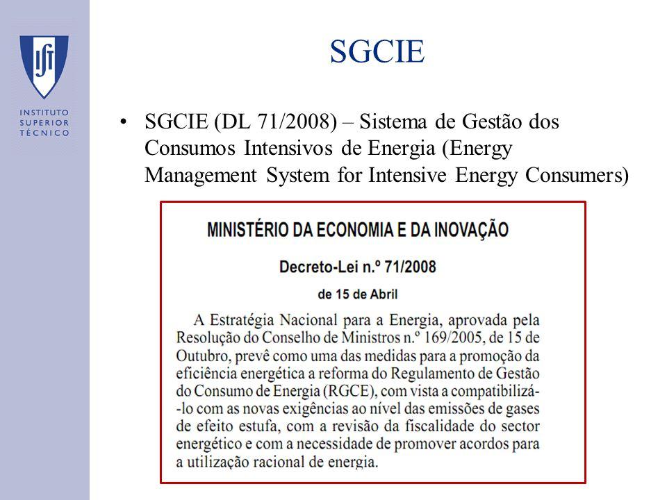 SGCIE (DL 71/2008) – Sistema de Gestão dos Consumos Intensivos de Energia (Energy Management System for Intensive Energy Consumers) SGCIE
