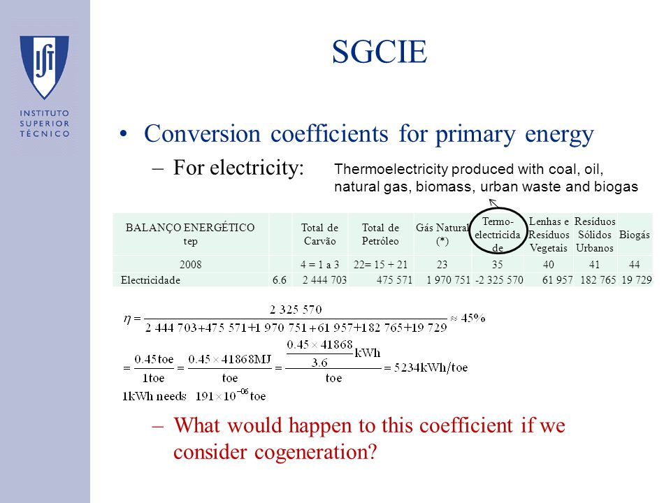 SGCIE Conversion coefficients for primary energy –For electricity: –What would happen to this coefficient if we consider cogeneration? BALANÇO ENERGÉT