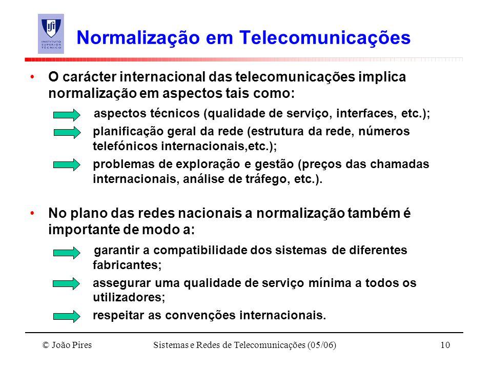 © João PiresSistemas e Redes de Telecomunicações (05/06)10 Normalização em Telecomunicações O carácter internacional das telecomunicações implica norm