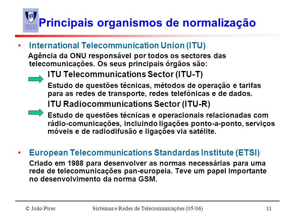 © João PiresSistemas e Redes de Telecomunicações (05/06)11 Principais organismos de normalização International Telecommunication Union (ITU) Agência d