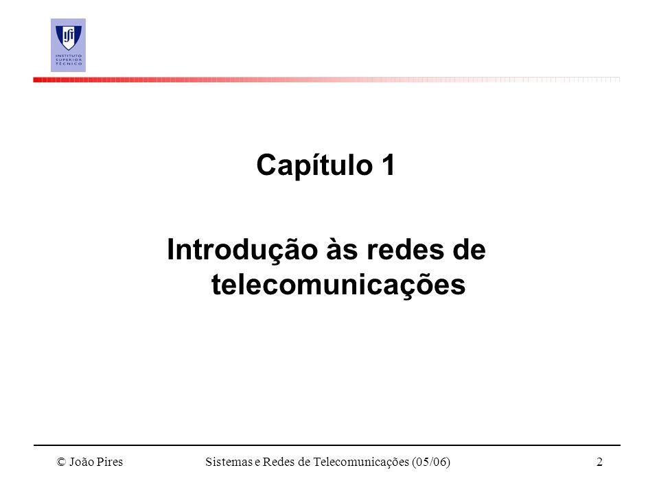 © João PiresSistemas e Redes de Telecomunicações (05/06)2 Capítulo 1 Introdução às redes de telecomunicações