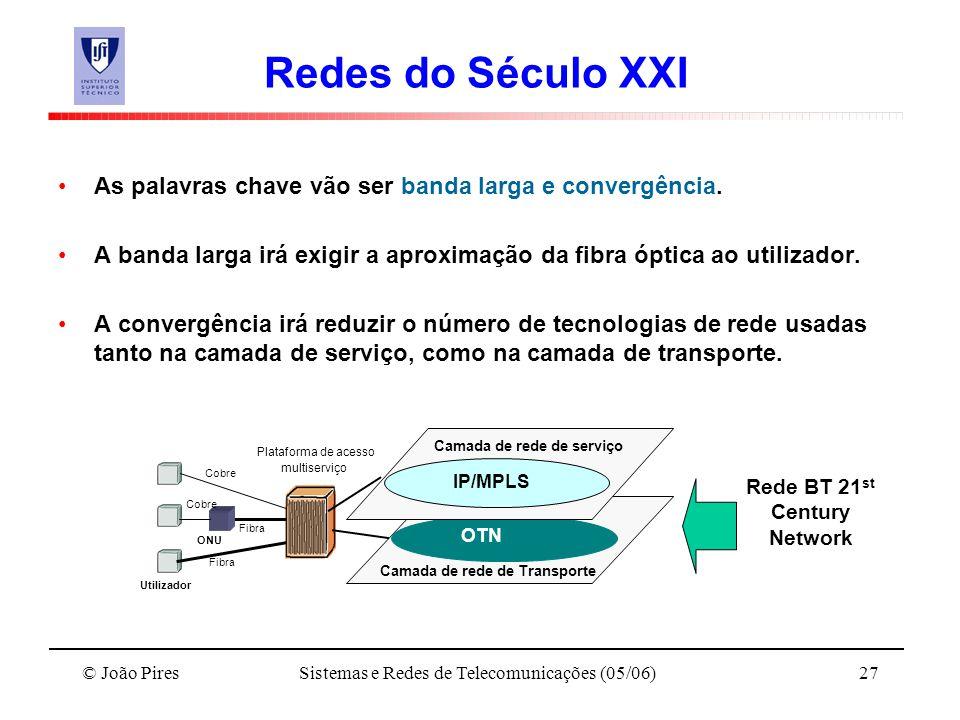 © João PiresSistemas e Redes de Telecomunicações (05/06)27 Redes do Século XXI As palavras chave vão ser banda larga e convergência. A banda larga irá