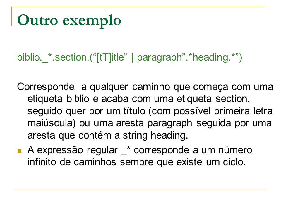 Outro exemplo biblio._*.section.([tT]itle | paragraph.*heading.*) Corresponde a qualquer caminho que começa com uma etiqueta biblio e acaba com uma et