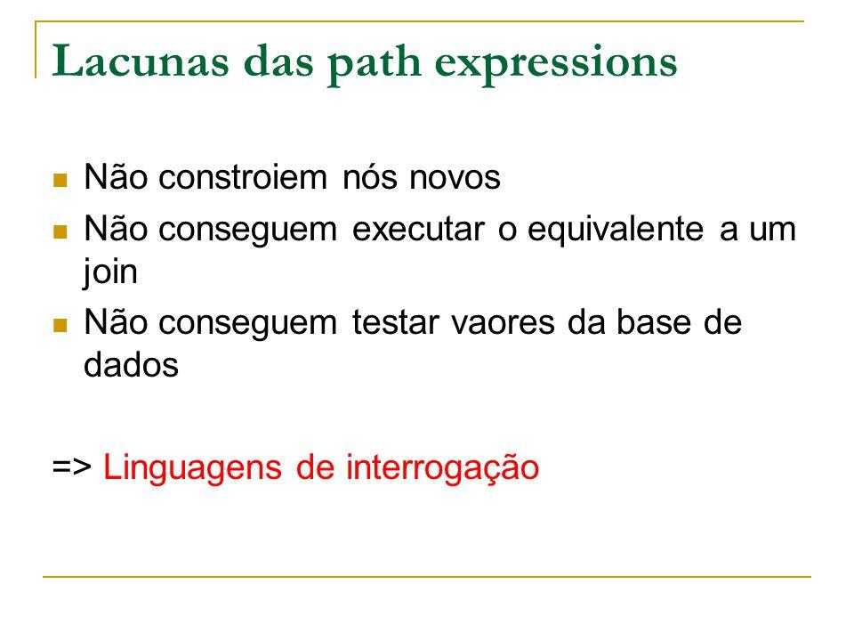 Lacunas das path expressions Não constroiem nós novos Não conseguem executar o equivalente a um join Não conseguem testar vaores da base de dados => L