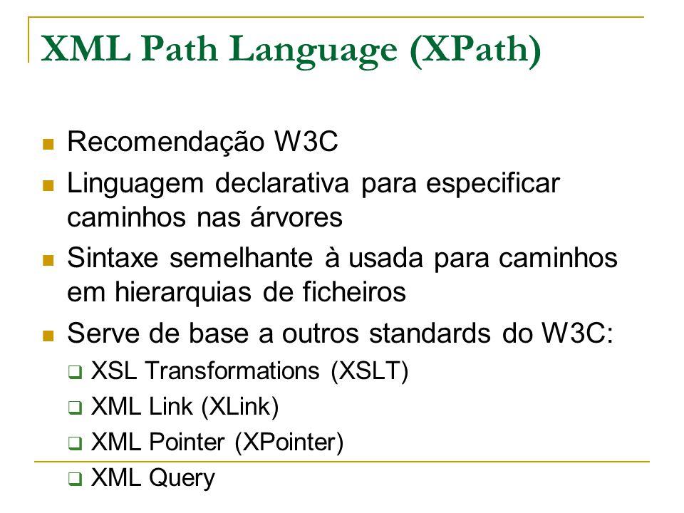 XML Path Language (XPath) Recomendação W3C Linguagem declarativa para especificar caminhos nas árvores Sintaxe semelhante à usada para caminhos em hie