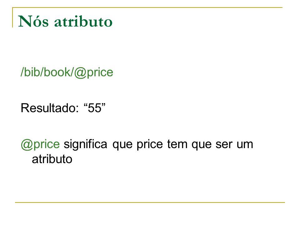 Nós atributo /bib/book/@price Resultado: 55 @price significa que price tem que ser um atributo