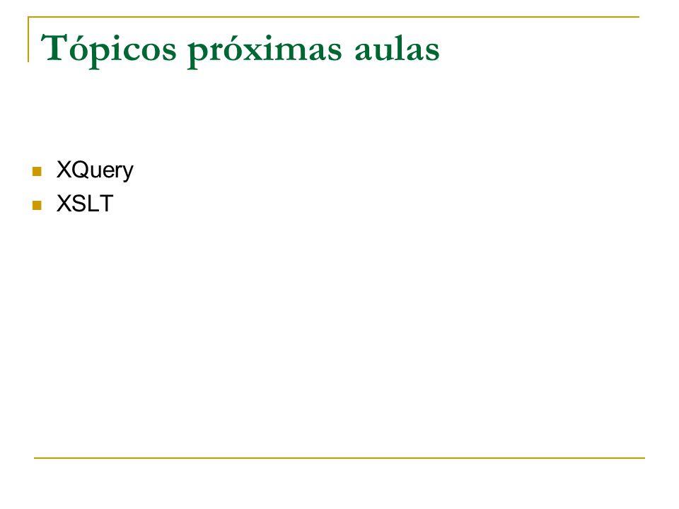 Tópicos próximas aulas XQuery XSLT