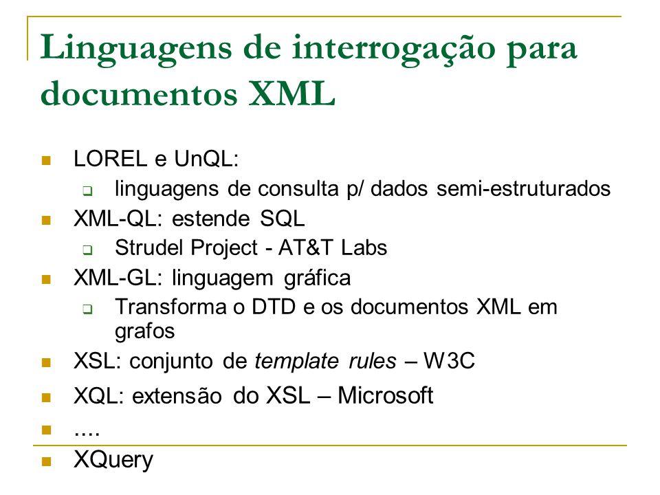 Linguagens de interrogação para docum e ntos XML LOREL e UnQL: linguagens de consulta p/ dados semi-estruturados XML-QL: estende SQL Strudel Project -