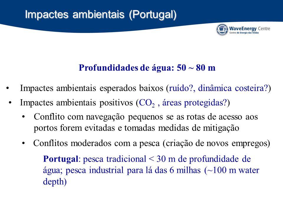 Impactes ambientais (Portugal) Impactes ambientais esperados baixos (ruído?, dinâmica costeira?) Conflito com navegação pequenos se as rotas de acesso